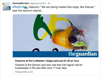 tweet of Guardian article on cleaners at Rio